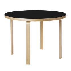 テーブル90A / ブラックリノリウム φ100×H72cm