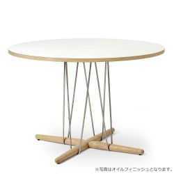 E020 エンブレイステーブル φ110cm ホワイト / オーク材 ラッカー塗装
