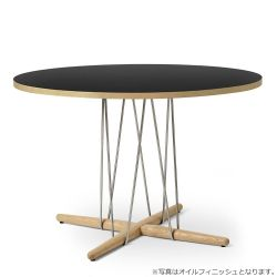 E020 エンブレイステーブル φ110cm ブラック / オーク材 ソープフィニッシュ