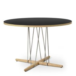 E020 エンブレイステーブル φ110cm ブラック / オーク材 ホワイトオイルフィニッシュ