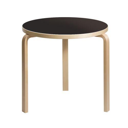 テーブル90B / ブラックリノリウム φ75×H72cm (Artek / アルテック)