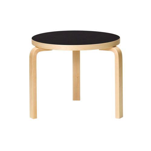 テーブル90D / ブラックリノリウム φ48×H44cm (Artek / アルテック)