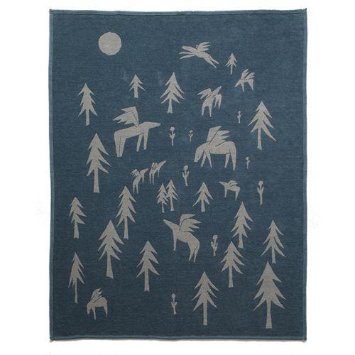 シングル コットンブランケット140×180cm / Horses go to the moon ブルー (KLIPPAN / クリッパン)