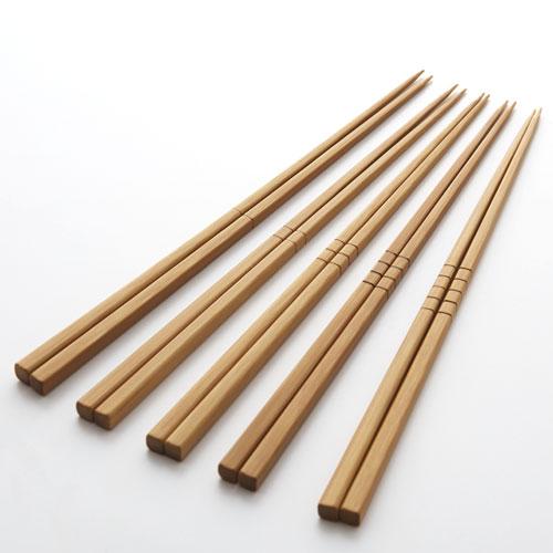 炭化竹筋箸5本セット