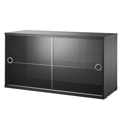 ディスプレイキャビネット W78×D30×H42cm / ブラックステンドアッシュ (String System / ストリング システム)