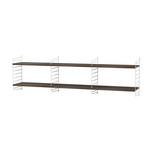 シェルフ+フロアパネル W180×D30×H50cm / ウォルナット (String Bundles Living)