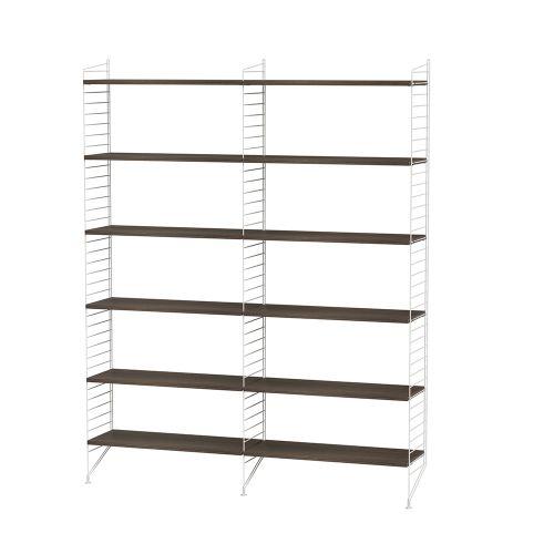 シェルフ+フロアパネル W120×D30×H200cm / ウォルナット (String Bundles Living)