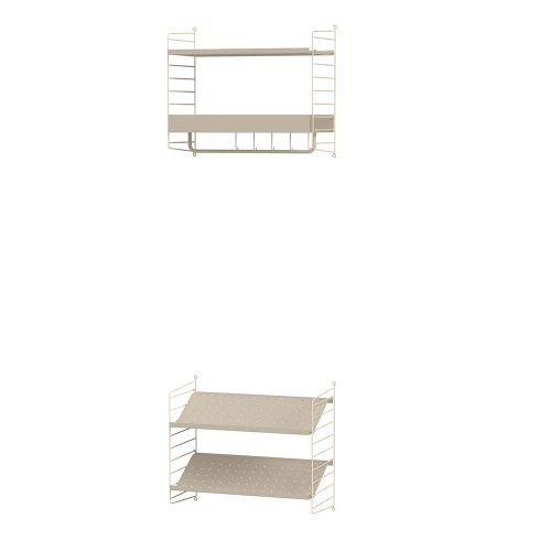 メタルシェルフ+シューズラック W60×D30×H50cm×2 (String Bundles Hallway)