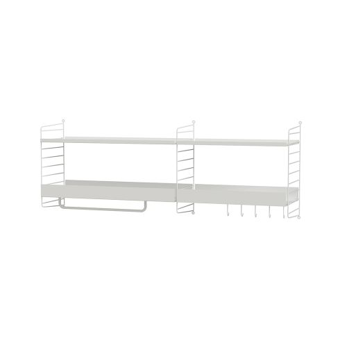 メタルシェルフ+ウォールパネル W140×D30×H50cm (String Bundles Hallway)