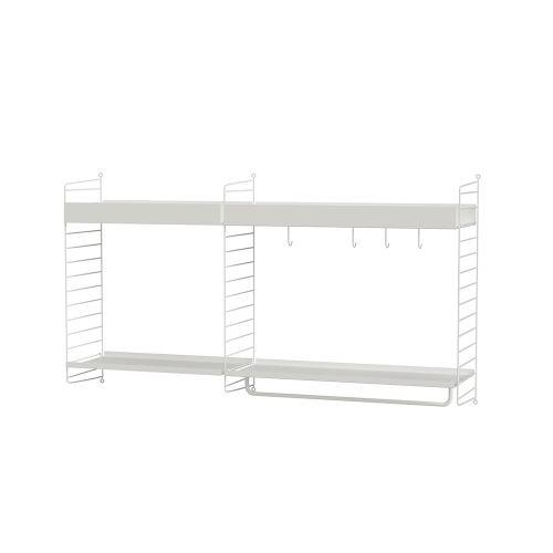メタルシェルフ+ウォールパネル W140×D30×H75cm (String Bundles Kitchen)