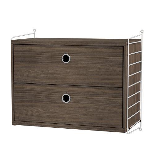 チェスト+ウォールパネル W60×D30×H50cm / ウォールナット (String Bundles bed room)