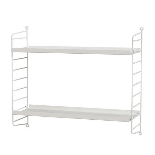 メタルシェルフ+ウォールパネル W60×D20×H50cm (String Bundles bed room)