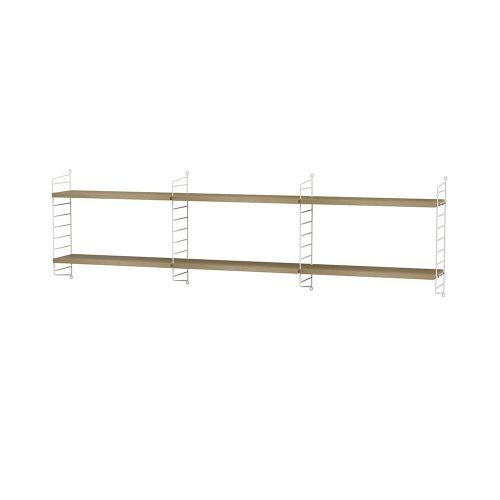 シェルフ+ウォールパネル W180×D20×H50cm / ウッド (String Bundles bed room)