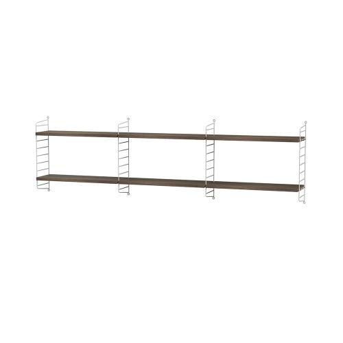 シェルフ+ウォールパネル W180×D20×H50cm / ウォールナット (String Bundles bed room)