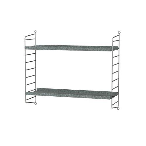 シェルフ+ウォールパネル W60×D20×H50cm / ガルバナイズド (String Bundles outdoor)