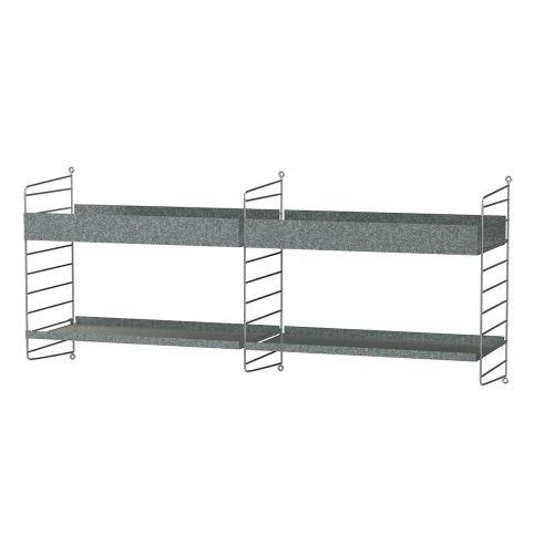 シェルフ+ウォールパネル W120×D30×H50cm / ガルバナイズド (String Bundles outdoor)