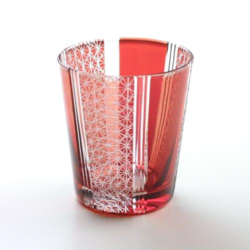 切子グラス 菊繋ぎ赤帯 タンブラー (Comma / コンマ)
